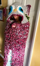 Crochet Hooded Owl Blanket Chunky Throw birthday valenes gift, baby to A... - $46.07+