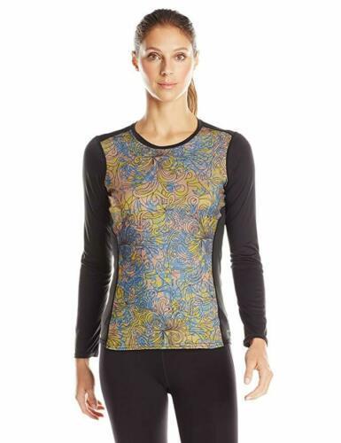 Large 12-14 Hot Chillys Women's Katmandu Print Crewneck Tee Shirt Long Sleeve