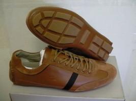 Lacoste Mens shoes Berryman SRM Brown Tan Leather Lace-Up Casual size 10 us - $143.50
