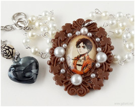 Eren Cameo Necklace, Beaded Glass Pearl Chain, Silver - Anime, AoT - $28.00