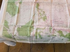 """Rare Vintage 36""""x26"""" Two Sided Western Pacific Cloth Nautical Map Asia China image 5"""