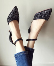Sequin Black Wedding Shoes,Sequin Bridal Low Heels Shoes,Black Medium He... - $48.00
