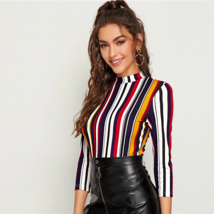 Women T-Shirt Multicolor Mock-neck Form Fitted Striped Top Autumn Elegant Office image 2