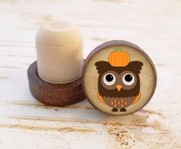 Owl with Pumpkin Wine Stopper, Bottle Stopper, Dark Wood Cork Bottle Sto... - $8.86