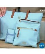 JOY Mangano Luxe Genuine Leather Handbag Chic Crossbody with Tote Ice Blue - $39.59