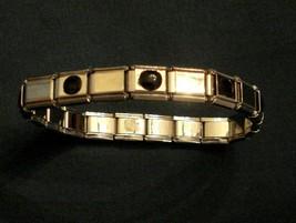 Avon Stretch Bracelet Faux ONYX Silver Tone Elastic Metal Link Fashion Jewelry - $9.88