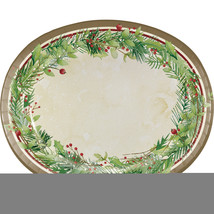 "Winter Wreath 10"" x 12"" Paper Oval Platter, Case of 96 - £62.73 GBP"