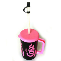Vintage Pink Black Coca Cola Classic Mug with Lid And Straw - £11.50 GBP