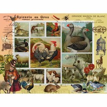 """BITS & PIECES JIGSAW STAMP PUZZLE """"FARM LIFE"""" 300 PIECE CHICKENS COWS HO... - $12.95"""