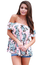 Pink Blue Floral Off Shoulder Blouse  - $18.47