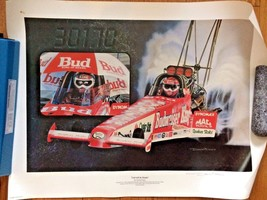 Rare BUDWEISER Kenny Bernstein Carved in Stone Print Funny Car NHRA Drag... - $63.19