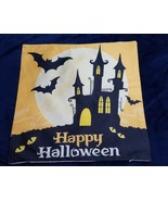 Happy Halloween Pillow Cover 17.5 In x 17.5 In HAUNTED HOUSE BATS ORANGE... - $12.87