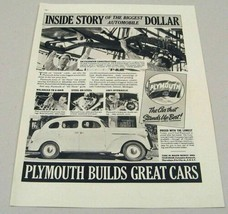 1937 Print Ad Plymouth 4-Door Cars Workers on Assembly Line - $14.80