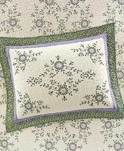 Martha Stewart Valencia Eyelet Standard Quilted Embroidered Sham Purple Green - $14.25