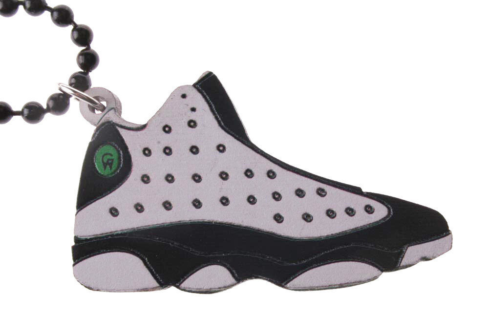 Good Wood NYC He Got Game 13's Sneaker Necklace White/Black XIII Shoe
