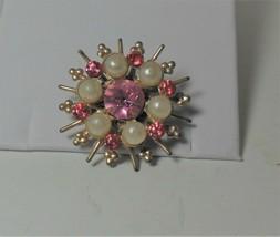 Pink Rhinestone Faux Pearl Star Burst Pin Brooch - $12.86