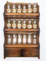 Vintage Spice Rack Wooden Hang or Stand w/ 18 Glass Bottles Stoppers Kit... - £100.80 GBP