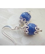 Mini Easter Egg Earrings Holland Delft Blue China Collector Czech Glass ... - $12.88