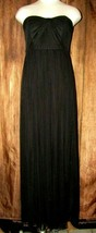 Davids Bridal Black Chiffon Long Flowy Strapless Gown Dress Size 6 Forma... - $37.62