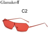 Glamaker Vintage red luxury brand alloy sunglasses women Fashion summer ... - $17.78