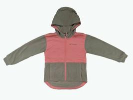 Columbia Girls Full Zip Fleece Hoodie Jacket, Light Grey Heather/Lollipop, L - $14.84