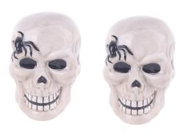Blue Sky Clayworks Halloween Skull Spider Ceramic Salt Pepper Shaker Set... - $21.78