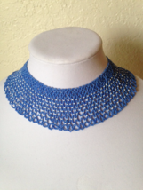 Beautiful Vintage Hand Made Seed Bead Crochet Blue Choker Fashion Necklace - $65.00