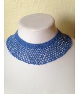 Beautiful Vintage Hand Made Seed Bead Crochet Blue Choker Fashion Necklace - $65.00
