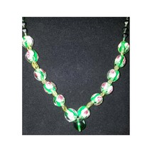 Focal Handmade OOAK Necklace #3m Italian Murano Lampwork Glass, Peridot, Czech g - $43.22