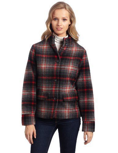 WOOLRICH Womens S/SMALL MAPLE RUN Button UP WOOL Quilt Lined BLACK PLAID Jacket