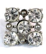 1920s Vintage Button Fancy Rhinestone Button Square Wedding Glitzy Flapper - $10.00