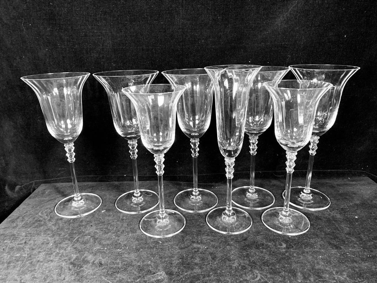 7 Piece Mixed Lot Flair Clear Mikasa Goblet Champagne Stem --Excellent Condition