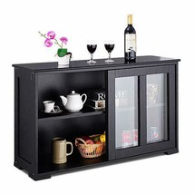 Storage Cabinet Sideboard Buffet Cupboard Glass Sliding Door Pantry Kitchen - €144,28 EUR