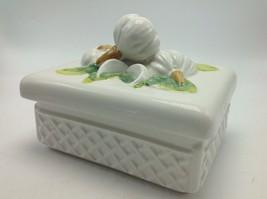 Vintage Ceramic Garlic Bulb Box with Lid Italy 3D Figural Knob Handle La... - $23.70