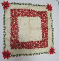 Vintage Christmas Hankie Handkerchief Poinsettias Sheer Scalloped Edge - $5.94