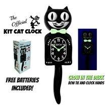 "GLOW in the DARK KIT CAT CLOCK 15.5"" Classic Black Free Battery Made in ... - $63.18"