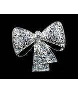 Christmas Holiday Bow Silver Tone Simulated Rhinestone Brooch Pin - $14.84
