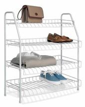 NEW Closet Shoe Storage Rack 4 Tier Metal Organizer Space Saving Standin... - $44.54