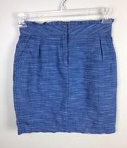 J Crew Heathered Playa Blue Indigo Chambray Pencil Tulip Linen Blend Blu... - $17.75