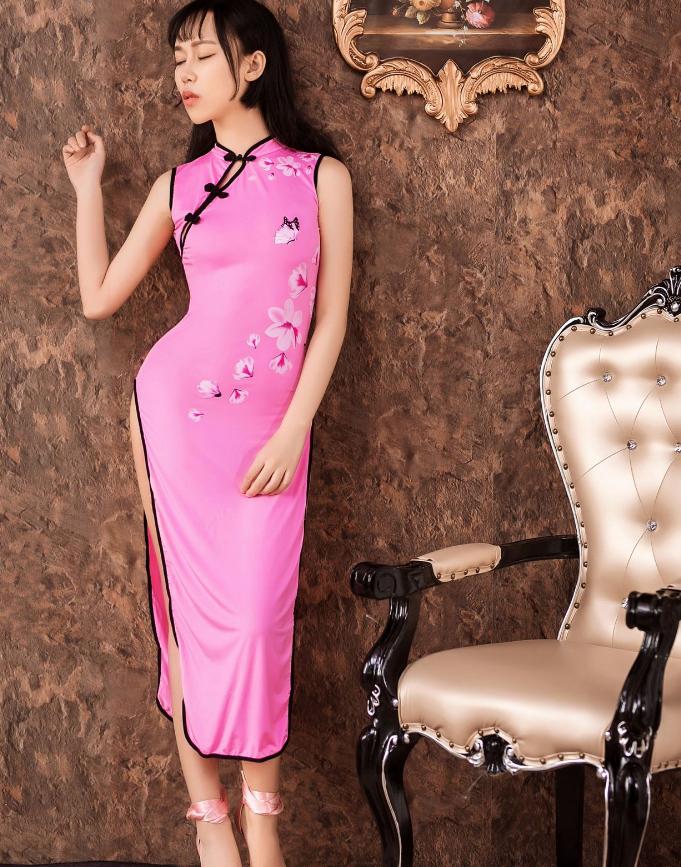 Women Sexy Long Cheongsam Dress High Split Vintage Qipao Pajamas Slim Stylish image 6