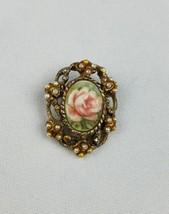 Vintage G. Harve small hand painted porcelain brooch floral rose ceramic... - $18.81