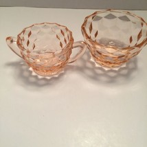 """Pink Depression Glass Jeanette Cube/""""Cubist"""" Bowl and Sugar Bowl - $14.81"""