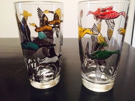 Vintage Colorful Geese Glass Tumbler Goose Duck Fowl  - $21.51