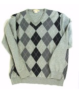 MICHAEL KORS  Size L Men's Lightweight Cotton Argyle Sweater Gray V-Neck - $14.99