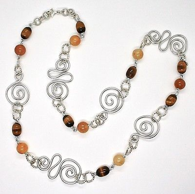 NECKLACE THE ALUMINIUM LONG 32 5/16in WITH TIGER'S EYE NATURAL AND JADE
