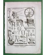 NAILS Fasteners Needle Making Tools - 1783 Antique Print Copperplate - $10.71