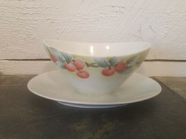 Bareuther Gravy Boat With Underplate Bavaria Germany Fruit Cherries - $19.79
