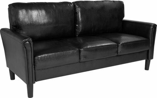 Durable Bari Upholstered Sofa in Black LeatherSoft - $785.56