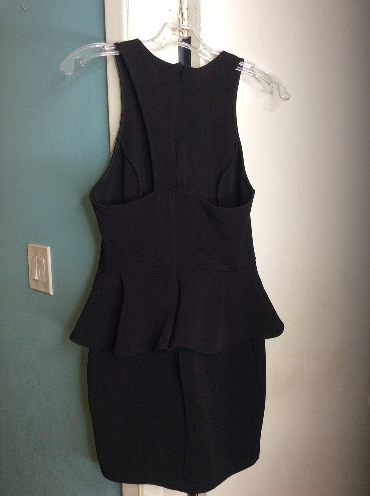 LUSH Juniors Black Zip Racerback Sleeveless Peplum Stretch Bodycon Dress Sz L