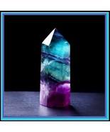 Natural Fluorite Hexagonal Crystal Column Healing Wand and Crystal Point  - $38.95